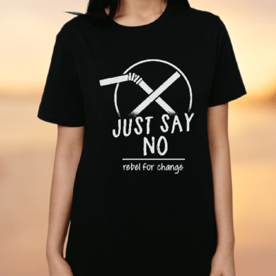 just say no to straws classic black tshirt women