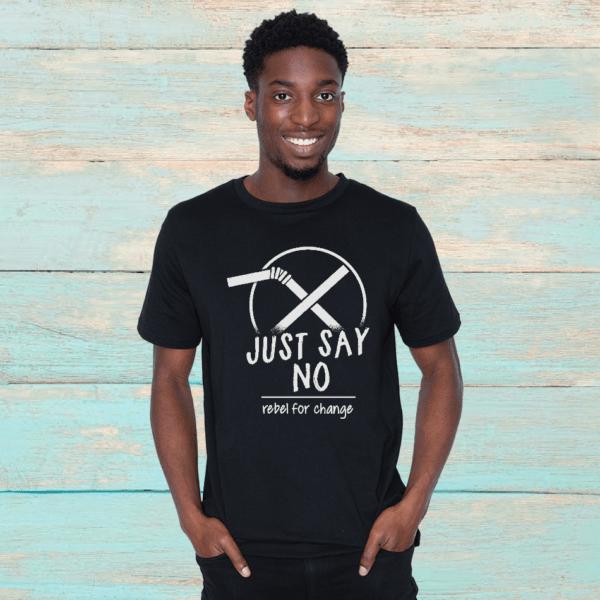 justsaynoblacktshirt men organic tshirt rebel buda