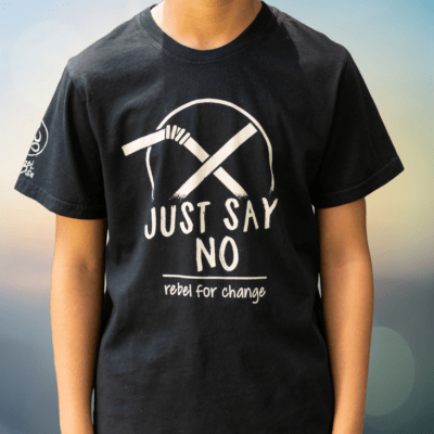 just say no to straws cropped kids and teen tshirt rebel buda organic sustainable
