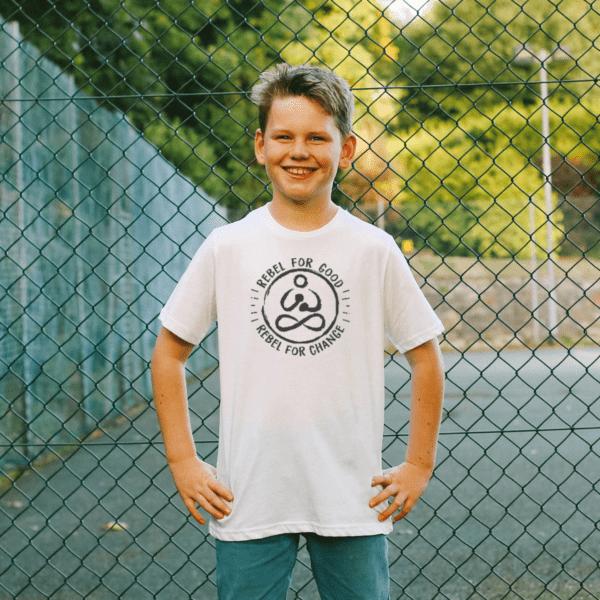rebelforgoodwhitetshirtkidscropped kids and teens rebel buda organic tshirt full frame boy