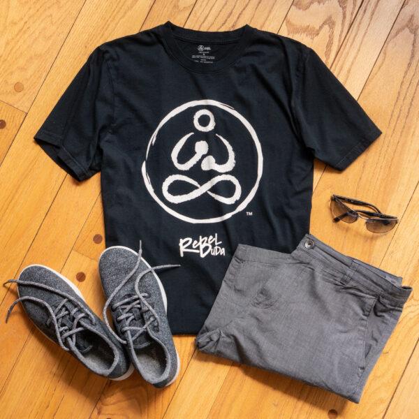 rebel buda black original tshirt with white logo organic cotton
