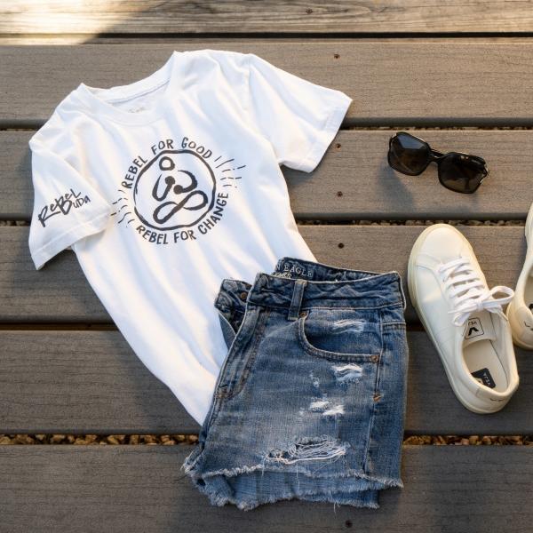 rebel for good organic women tshirt classic style full product shot rebel buda