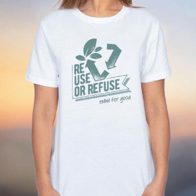 reuse white organic women tshirt classic style